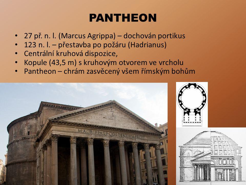 PANTHEON 27 př. n. l. (Marcus Agrippa) – dochován portikus