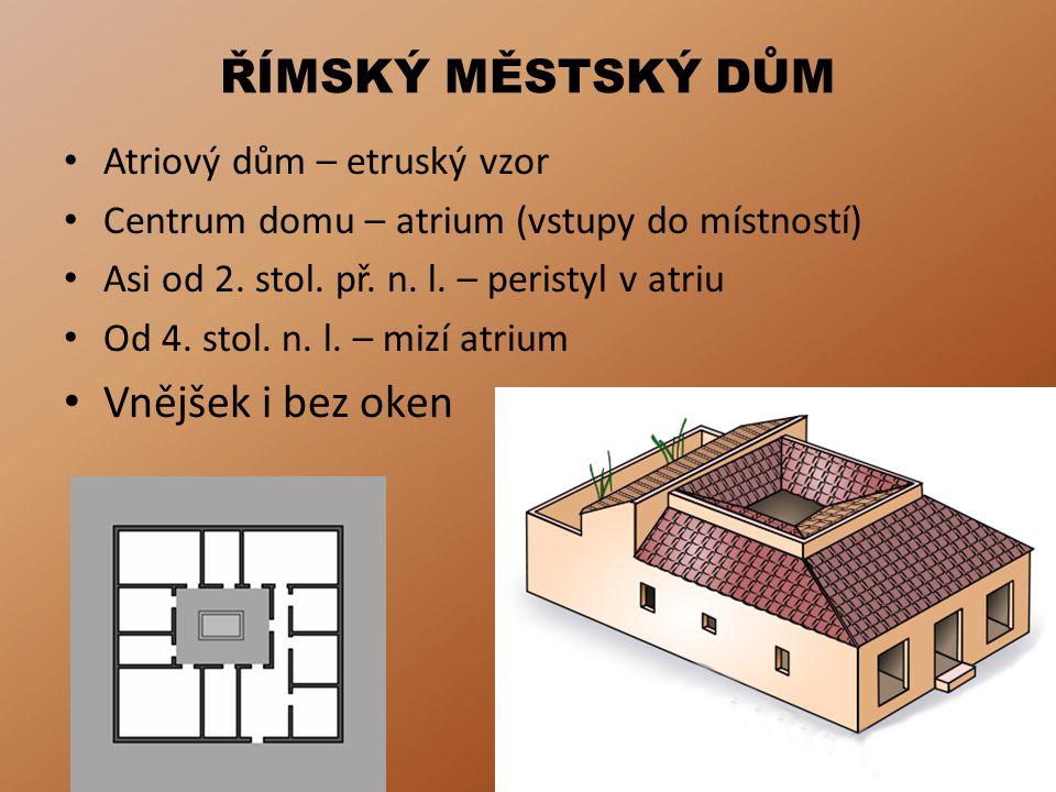 ŘÍMSKÝ MĚSTSKÝ DŮM Vnějšek i bez oken Atriový dům – etruský vzor