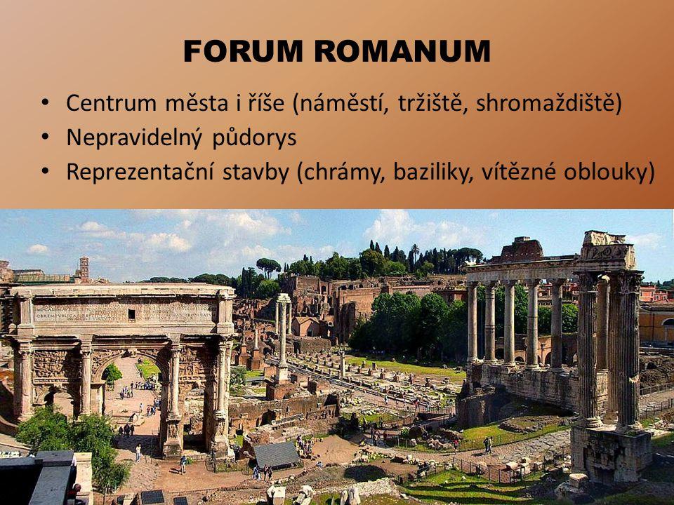 FORUM ROMANUM Centrum města i říše (náměstí, tržiště, shromaždiště)