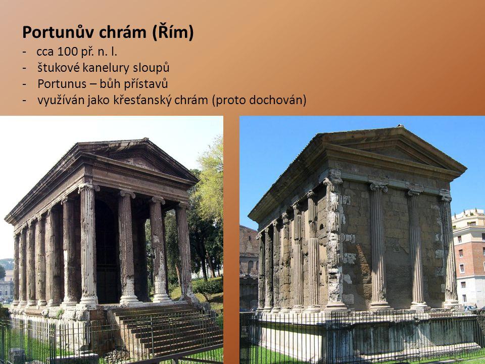 Portunův chrám (Řím) - cca 100 př. n. l. štukové kanelury sloupů