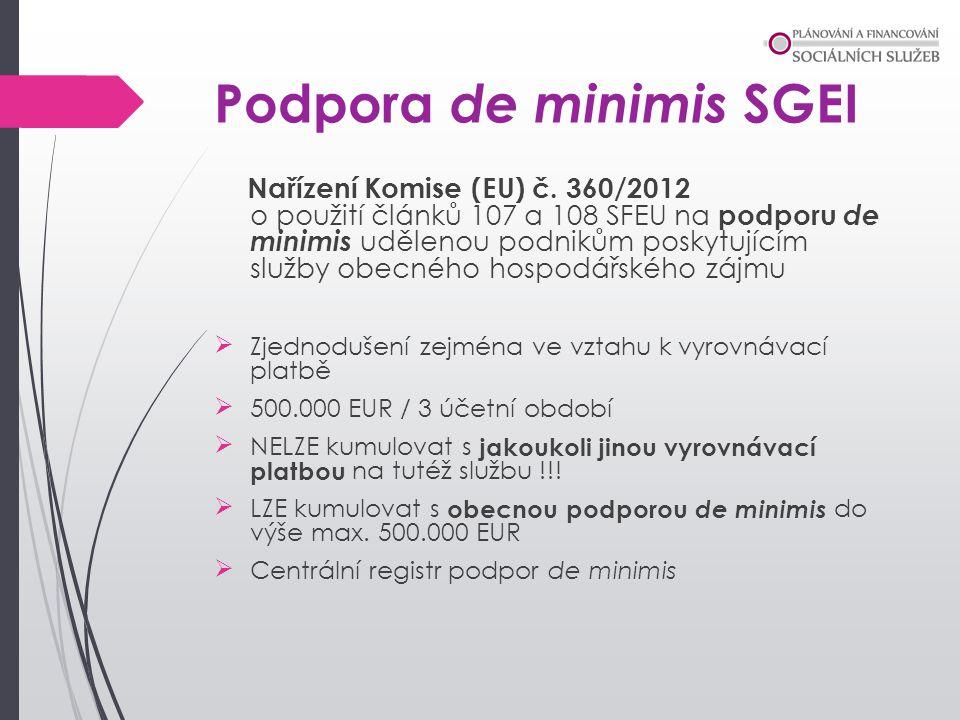 Podpora de minimis SGEI