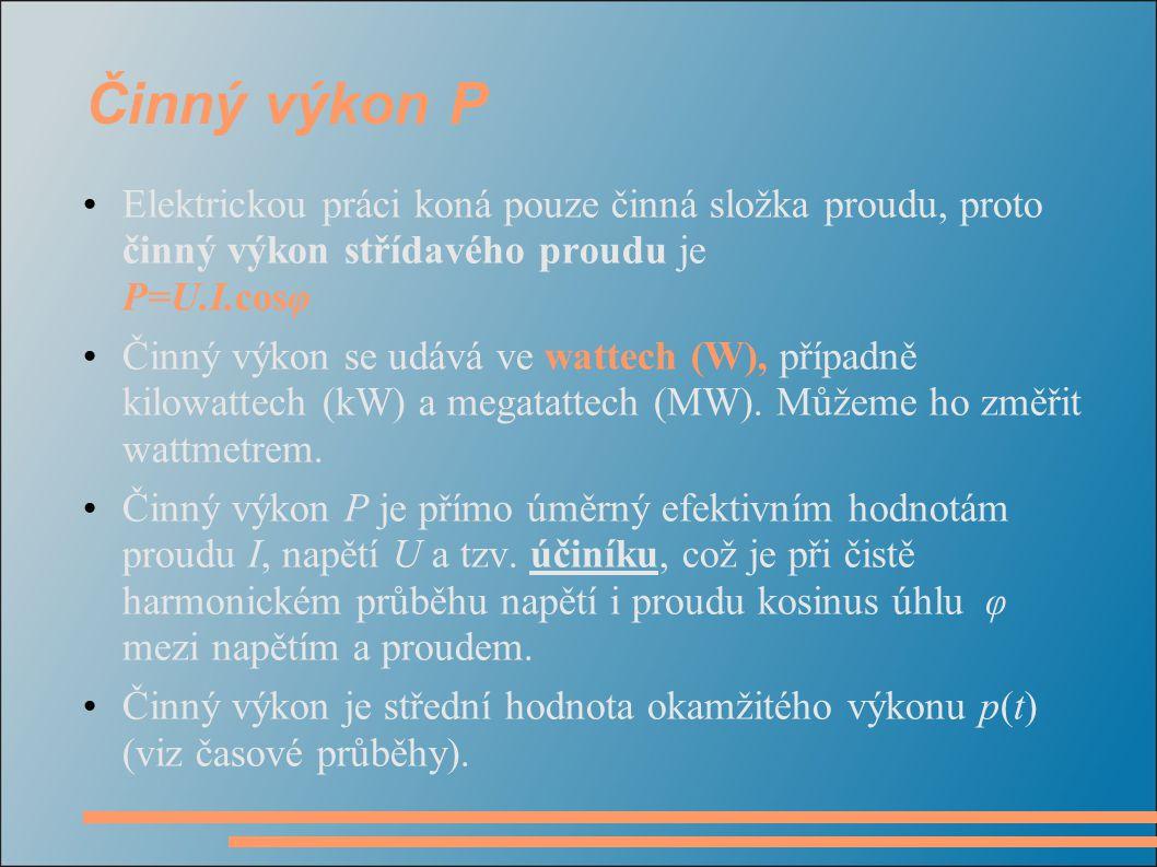 Činný výkon P Elektrickou práci koná pouze činná složka proudu, proto činný výkon střídavého proudu je P=U.I.cosφ.