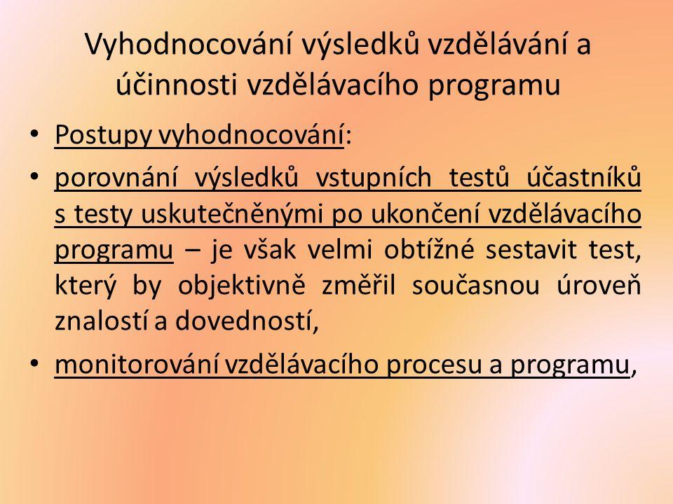 Vyhodnocování výsledků vzdělávání a účinnosti vzdělávacího programu
