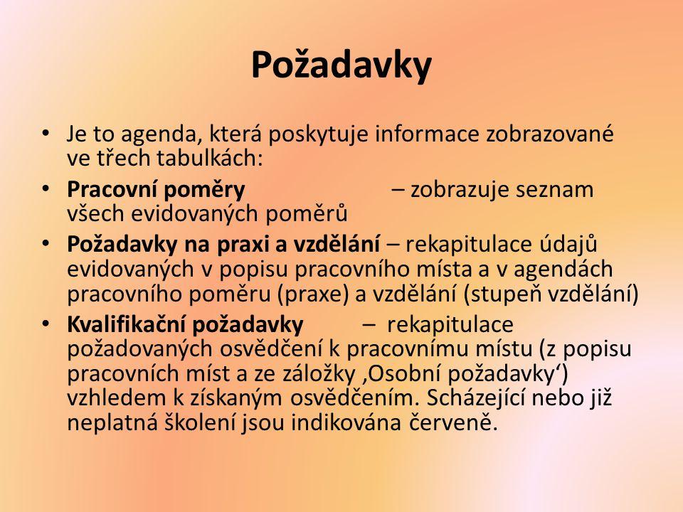 Požadavky Je to agenda, která poskytuje informace zobrazované ve třech tabulkách: