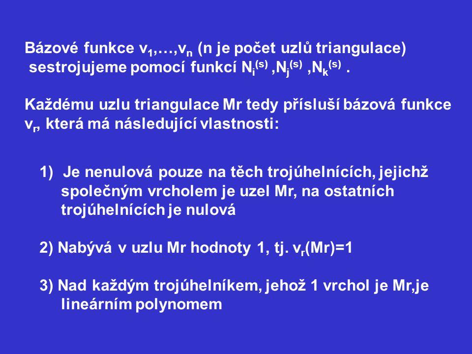 Bázové funkce v1,…,vn (n je počet uzlů triangulace)