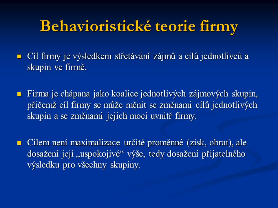 Behavioristické teorie firmy