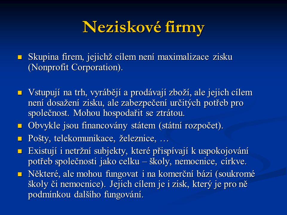 Neziskové firmy Skupina firem, jejichž cílem není maximalizace zisku (Nonprofit Corporation).