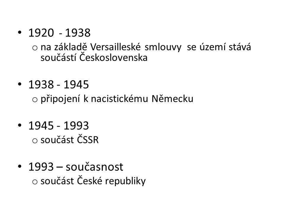1920 - 1938 na základě Versailleské smlouvy se území stává součástí Československa. 1938 - 1945.