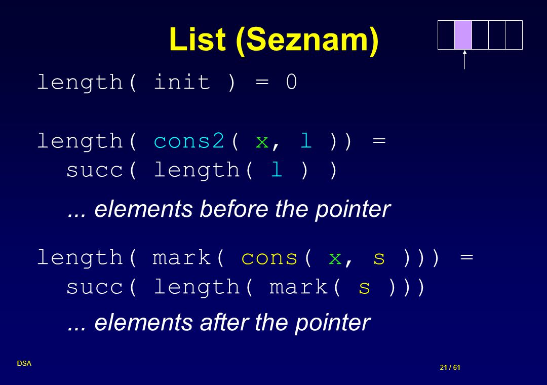List (Seznam) length( init ) = 0 length( cons2( x, l )) =