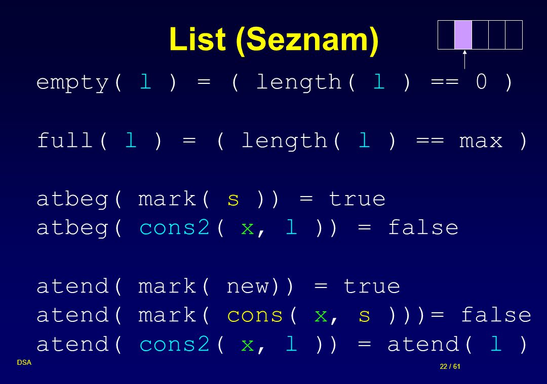 List (Seznam) empty( l ) = ( length( l ) == 0 )
