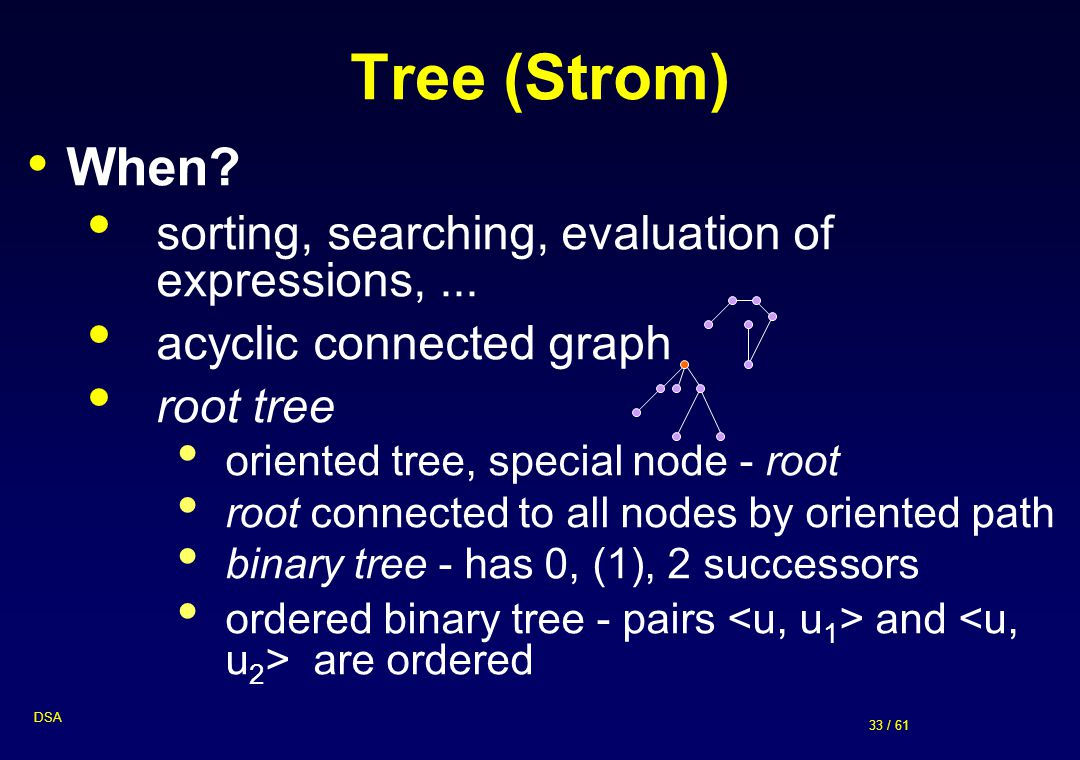 Tree (Strom) When sorting, searching, evaluation of expressions, ...
