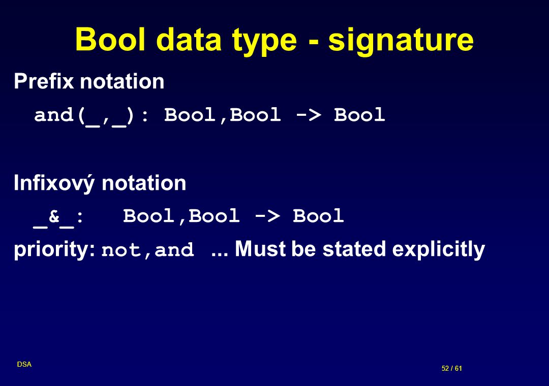 Bool data type - signature