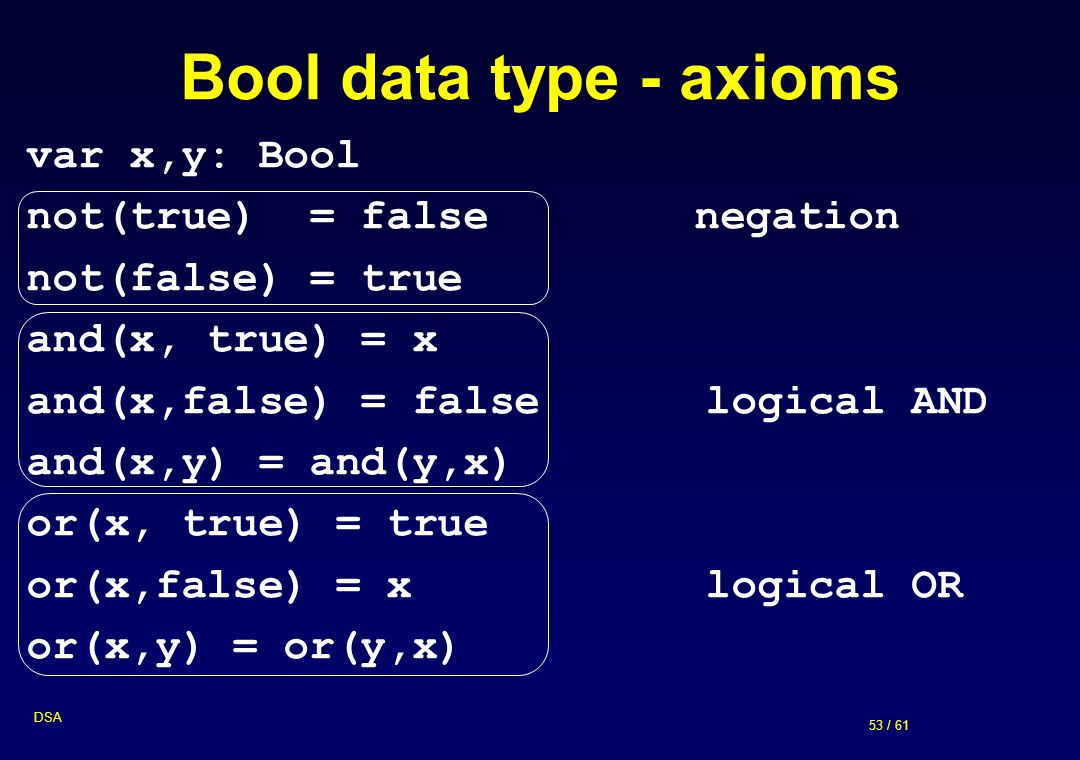 Bool data type - axioms var x,y: Bool not(true) = false negation