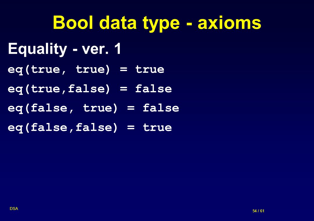 Bool data type - axioms Equality - ver. 1 eq(true, true) = true
