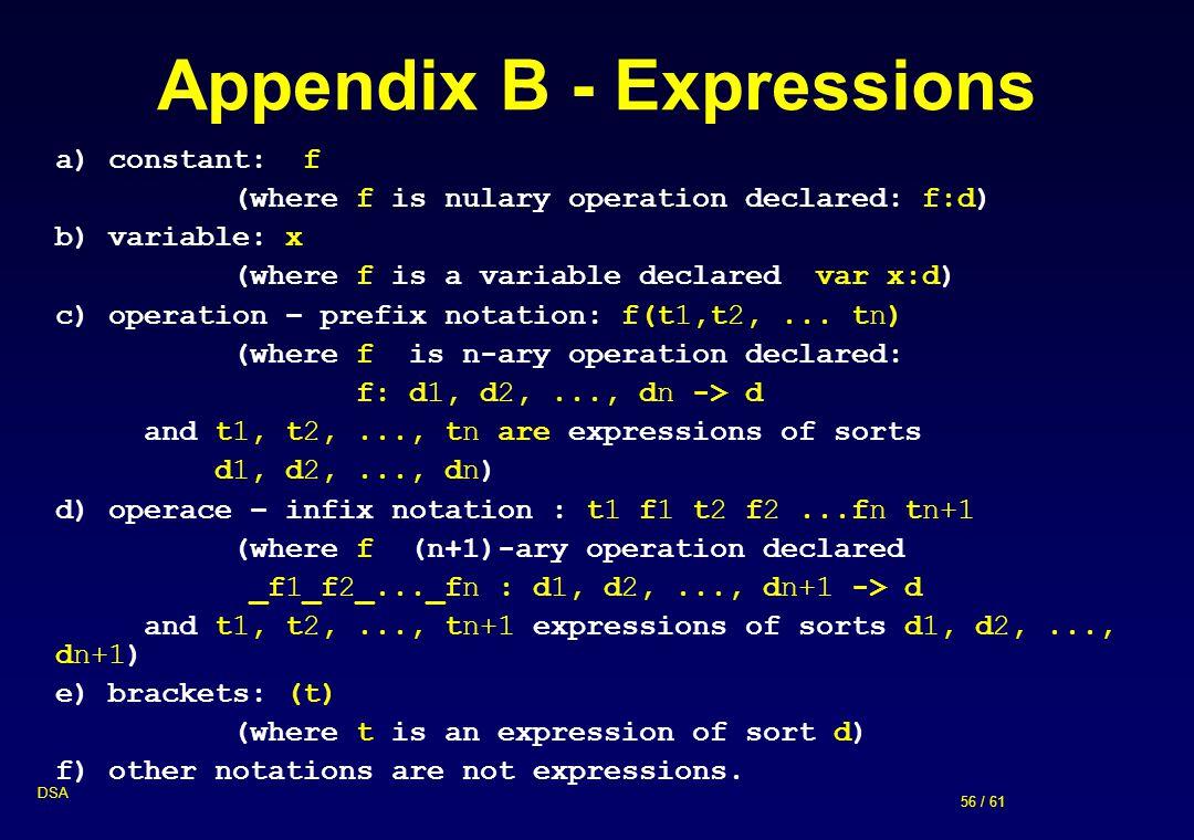 Appendix B - Expressions