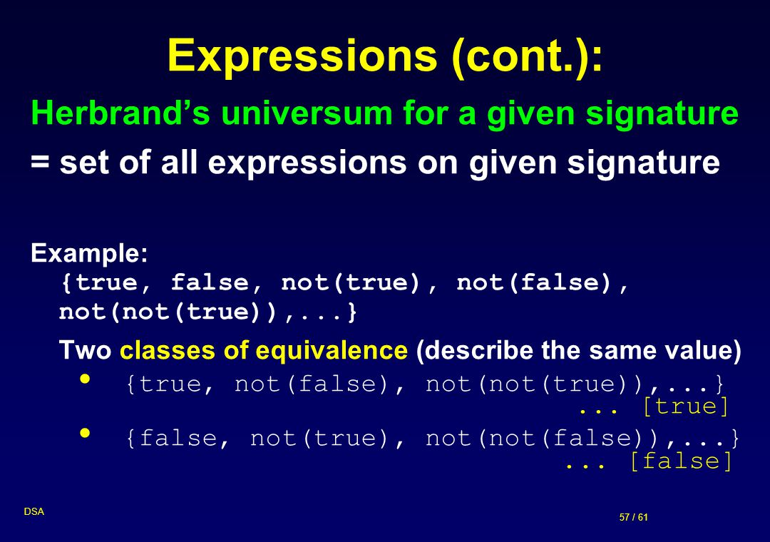 Expressions (cont.): Herbrand's universum for a given signature
