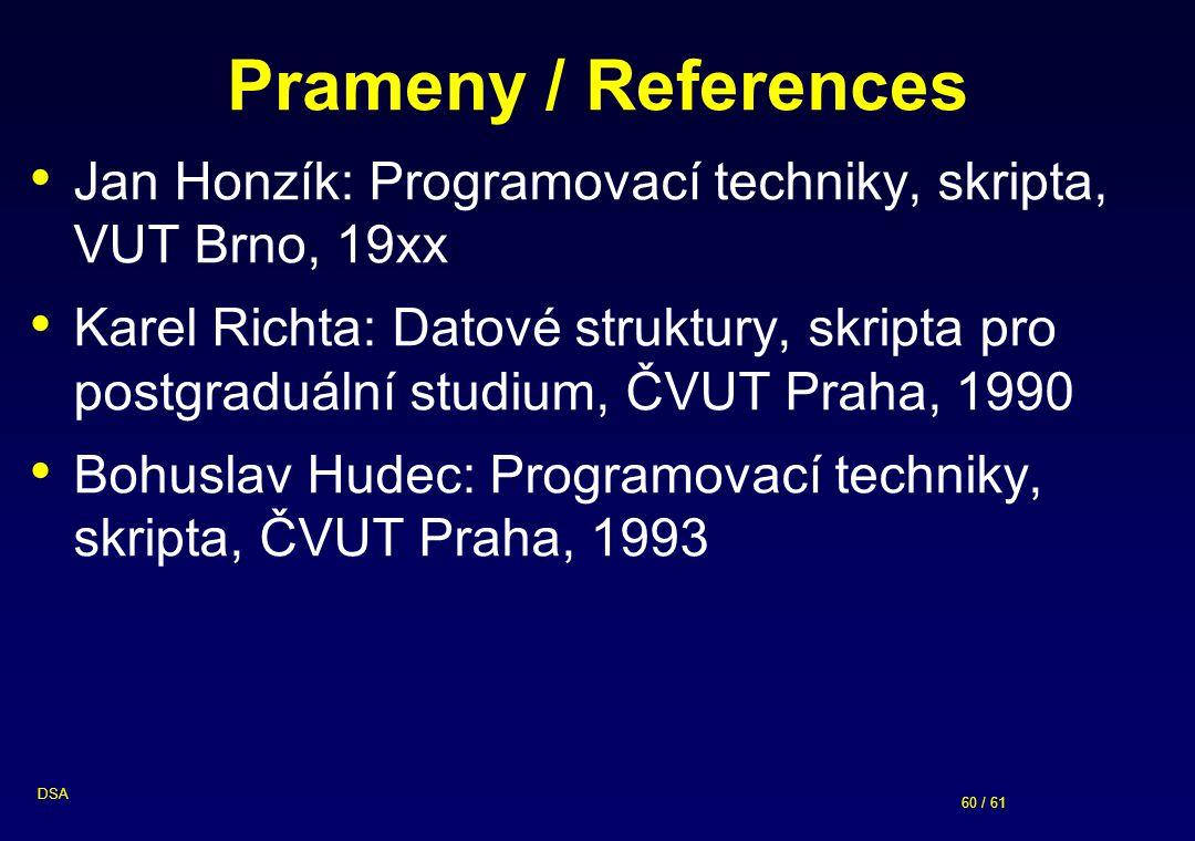 Prameny / References Jan Honzík: Programovací techniky, skripta, VUT Brno, 19xx.