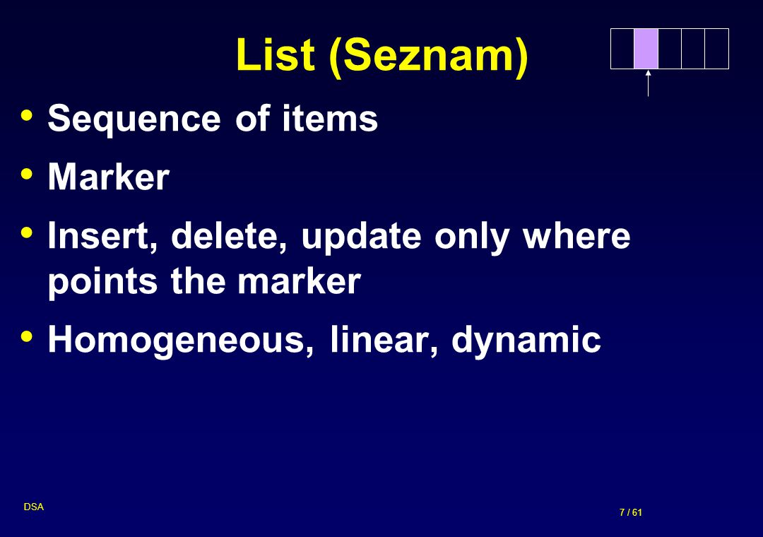 List (Seznam) Sequence of items Marker