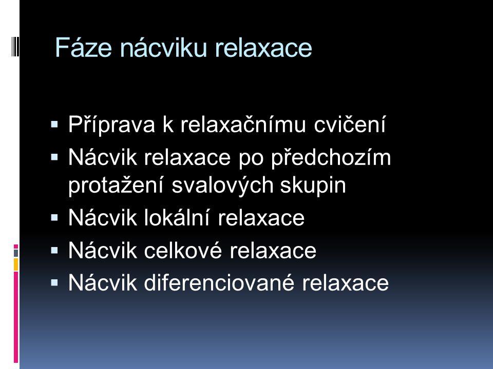 Fáze nácviku relaxace Příprava k relaxačnímu cvičení