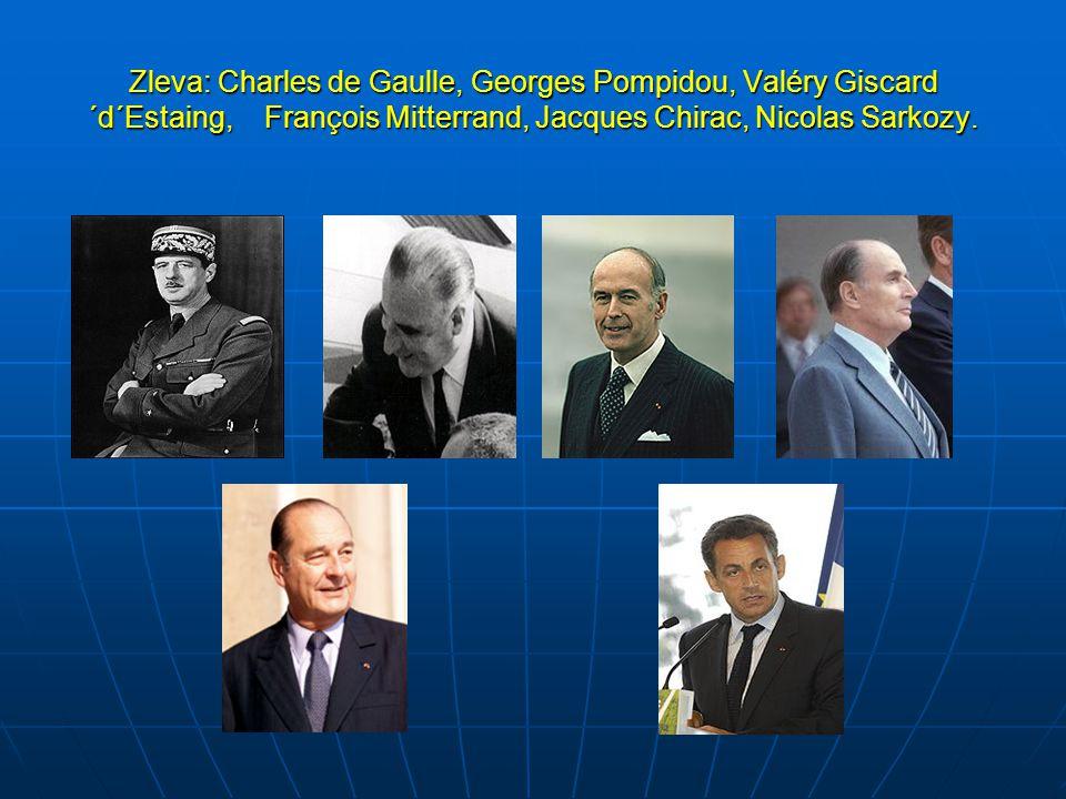 Zleva: Charles de Gaulle, Georges Pompidou, Valéry Giscard ´d´Estaing, François Mitterrand, Jacques Chirac, Nicolas Sarkozy.