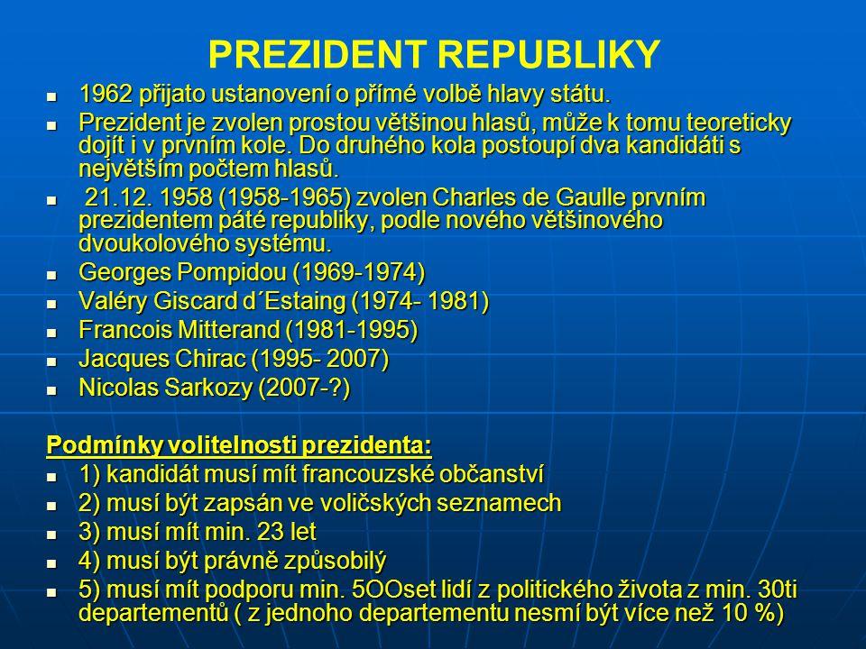 PREZIDENT REPUBLIKY 1962 přijato ustanovení o přímé volbě hlavy státu.