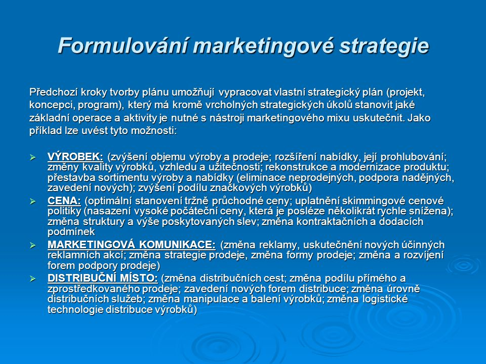 Formulování marketingové strategie