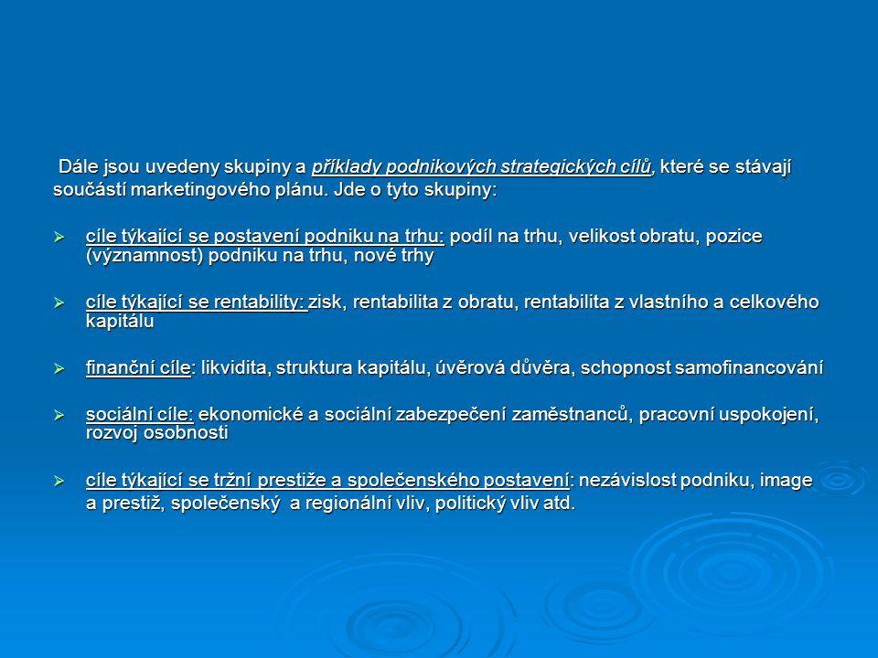 Dále jsou uvedeny skupiny a příklady podnikových strategických cílů, které se stávají