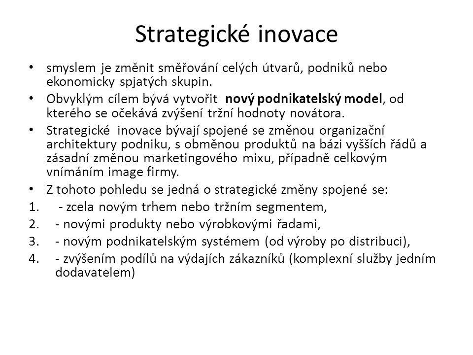 Strategické inovace smyslem je změnit směřování celých útvarů, podniků nebo ekonomicky spjatých skupin.