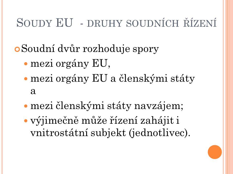 Soudy EU - druhy soudních řízení