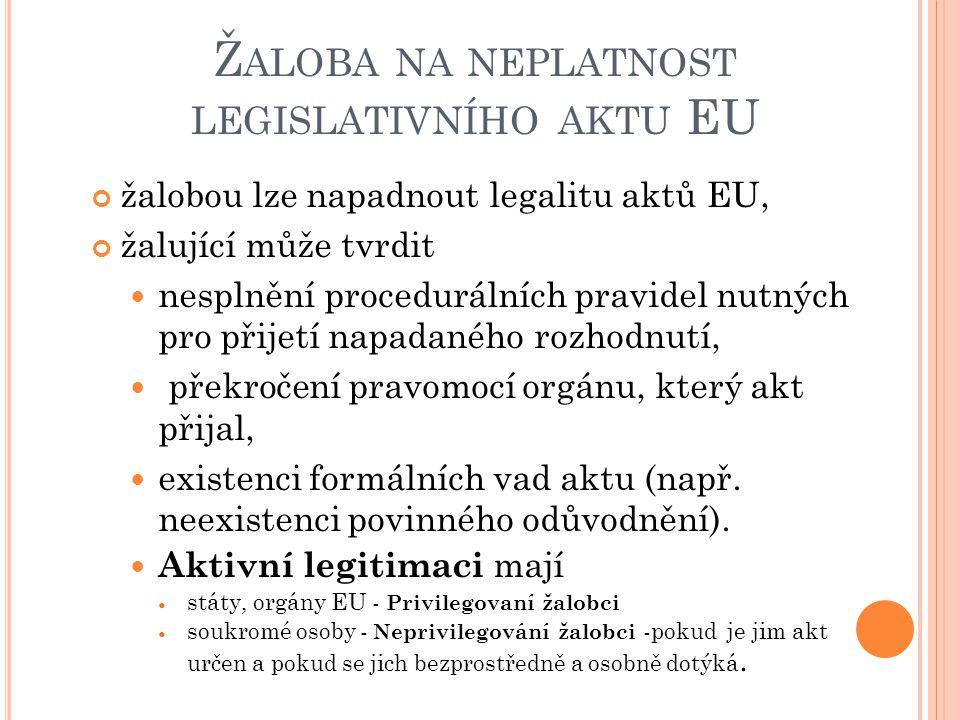 Žaloba na neplatnost legislativního aktu EU