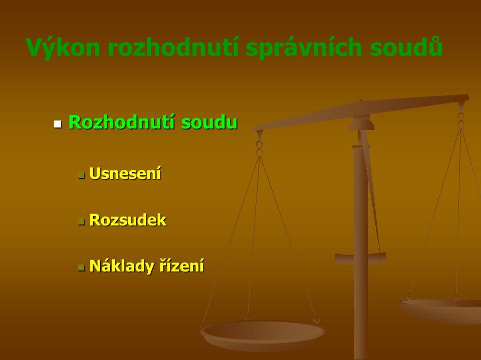 Rozhodnutí soudu Usnesení Rozsudek Náklady řízení