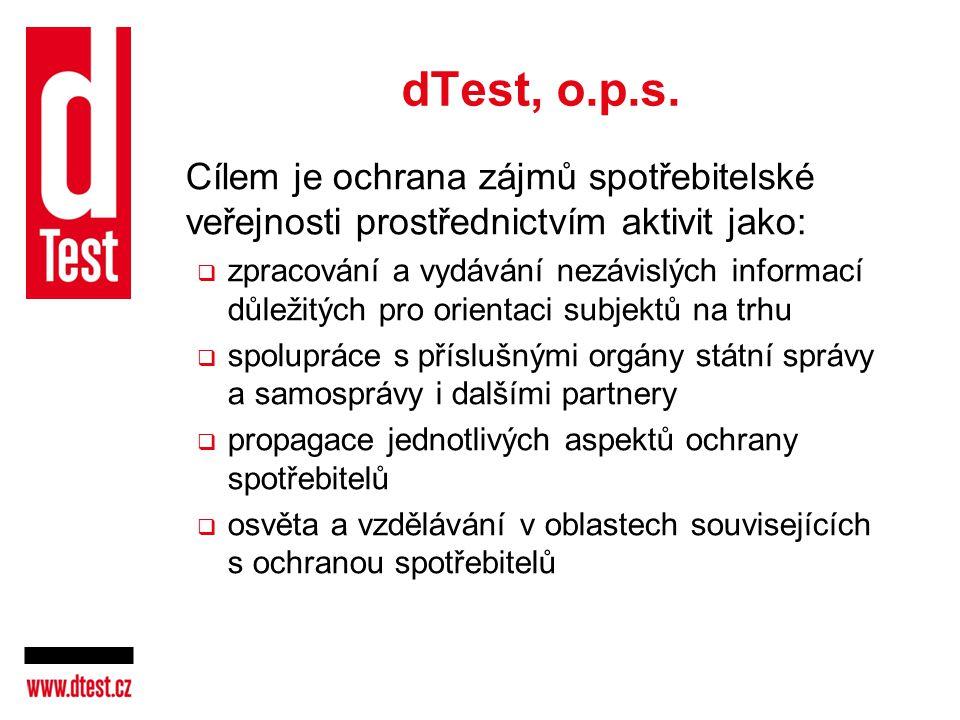 dTest, o.p.s. Cílem je ochrana zájmů spotřebitelské veřejnosti prostřednictvím aktivit jako: