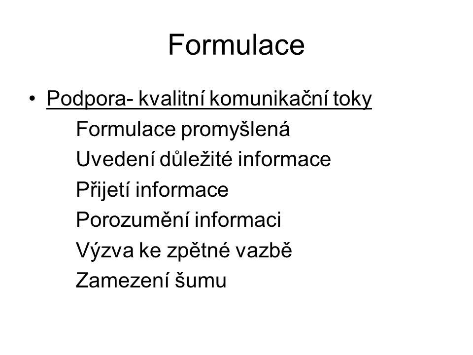 Formulace Podpora- kvalitní komunikační toky Formulace promyšlená
