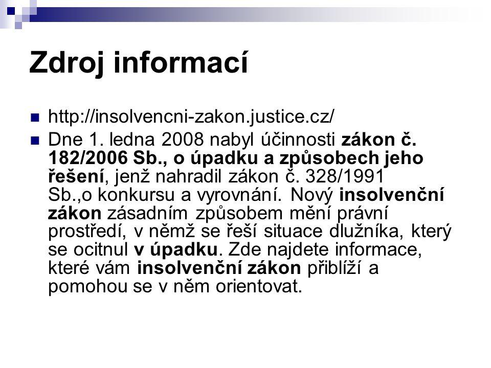 Zdroj informací http://insolvencni-zakon.justice.cz/