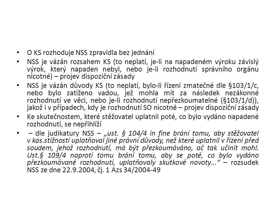 O KS rozhoduje NSS zpravidla bez jednání