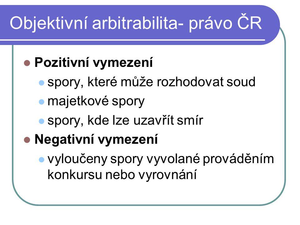 Objektivní arbitrabilita- právo ČR