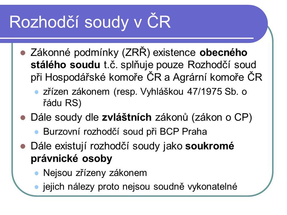 Rozhodčí soudy v ČR