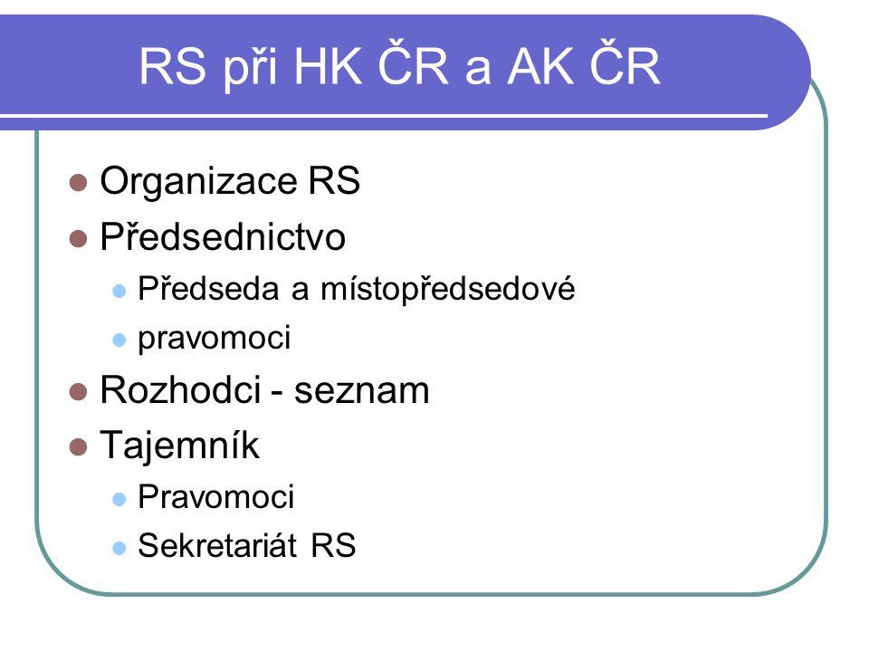 RS při HK ČR a AK ČR Organizace RS Předsednictvo Rozhodci - seznam
