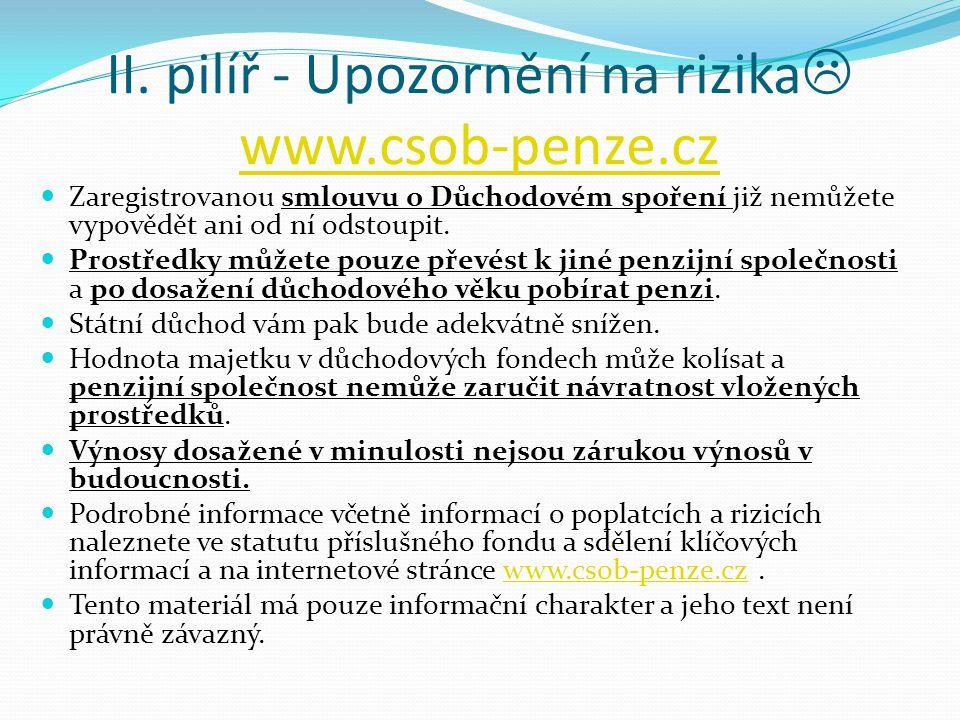 II. pilíř - Upozornění na rizika www.csob-penze.cz