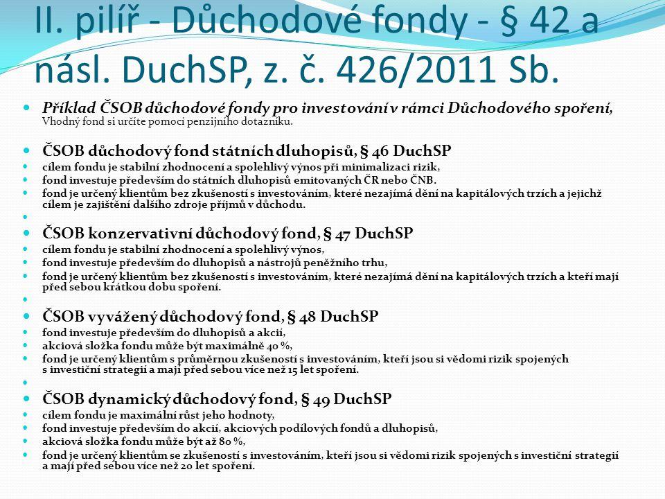 II. pilíř - Důchodové fondy - § 42 a násl. DuchSP, z. č. 426/2011 Sb.