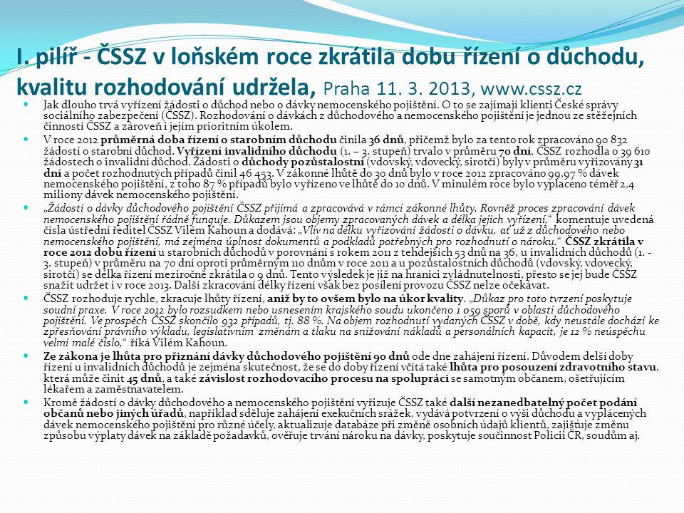 I. pilíř - ČSSZ v loňském roce zkrátila dobu řízení o důchodu, kvalitu rozhodování udržela, Praha 11. 3. 2013, www.cssz.cz