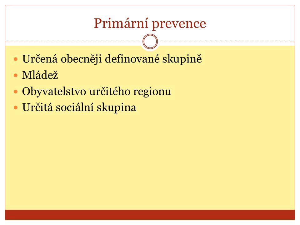 Primární prevence Určená obecněji definované skupině Mládež
