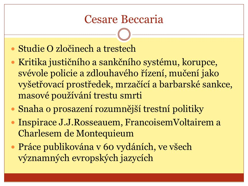 Cesare Beccaria Studie O zločinech a trestech