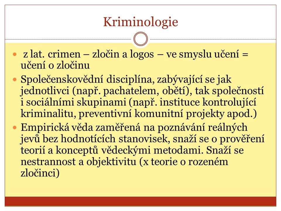 Kriminologie z lat. crimen – zločin a logos – ve smyslu učení = učení o zločinu.