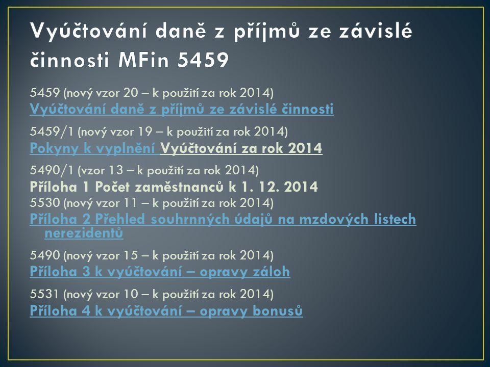 Vyúčtování daně z příjmů ze závislé činnosti MFin 5459