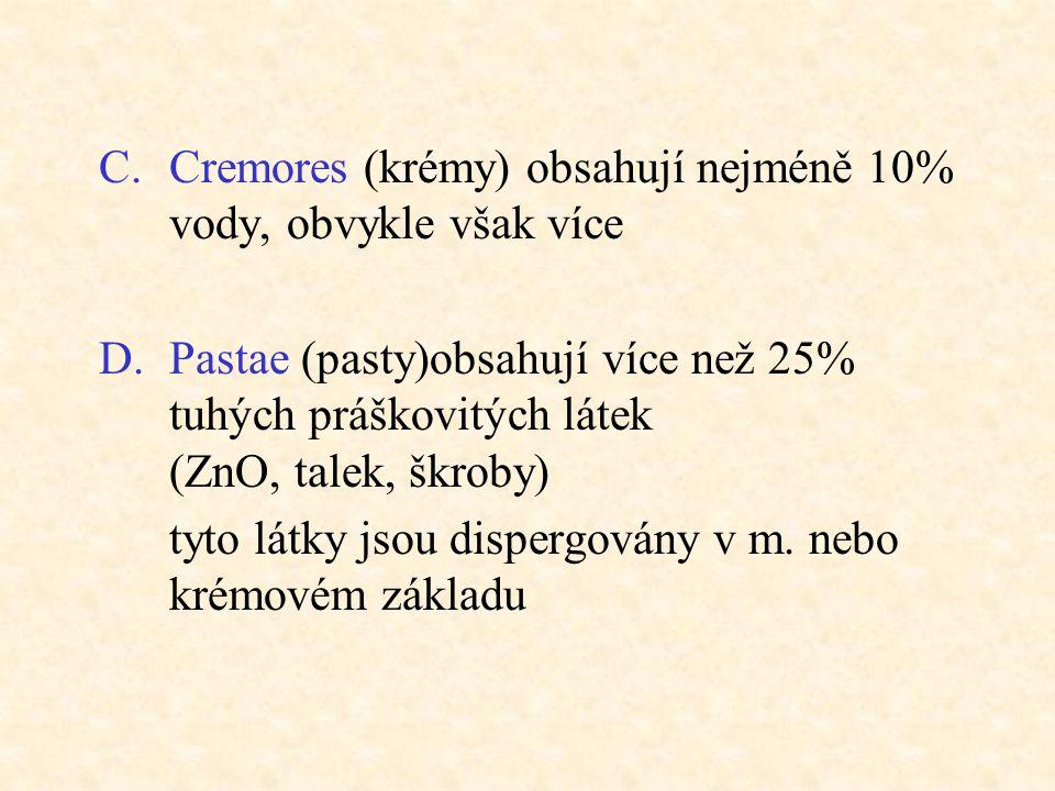 Cremores (krémy) obsahují nejméně 10% vody, obvykle však více