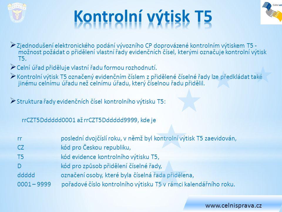 Kontrolní výtisk T5 www.celnisprava.cz