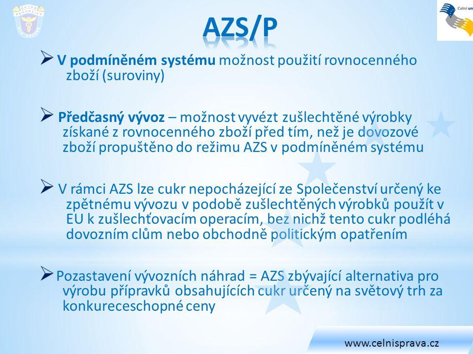 www.celnisprava.cz AZS/P. V podmíněném systému možnost použití rovnocenného zboží (suroviny)