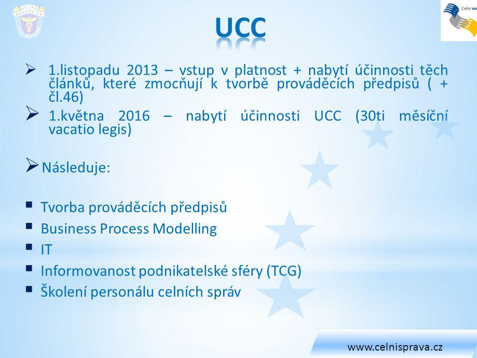 UCC 1.května 2016 – nabytí účinnosti UCC (30ti měsíční vacatio legis)