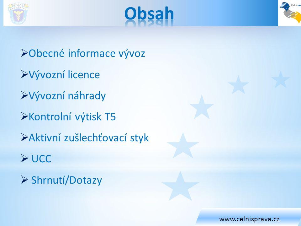 Obsah Obecné informace vývoz Vývozní licence Vývozní náhrady